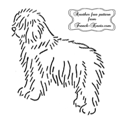 sheepdog embroidery pattern