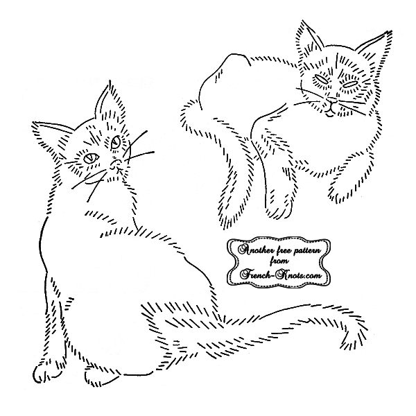 siamese cats embroidery pattern