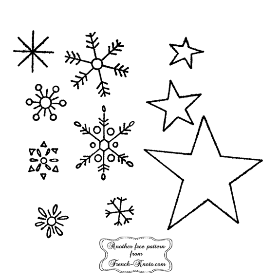 snowflakes and stars embroidery patterns