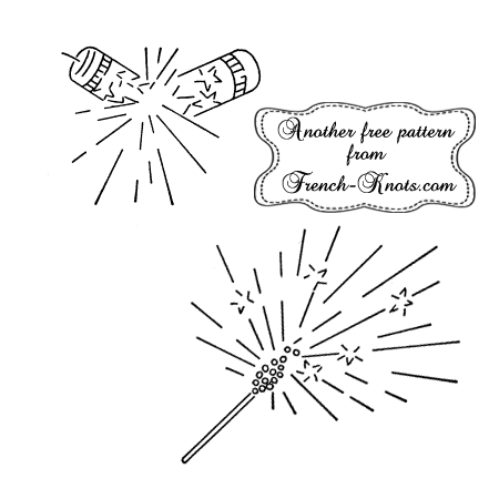 4th of July sparkler and firecracker embroidery pattern