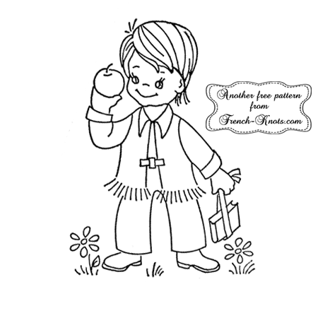 student boy embroidery pattern