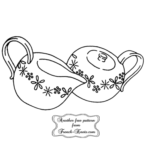 sugar and creamer embroidery pattern