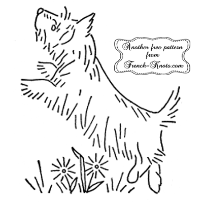 terrier dog embroidery pattern