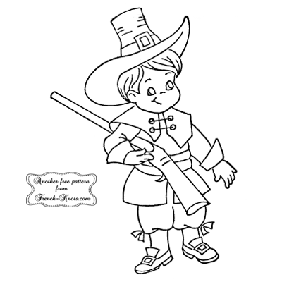 thanksgiving boy hunter embroidery pattern