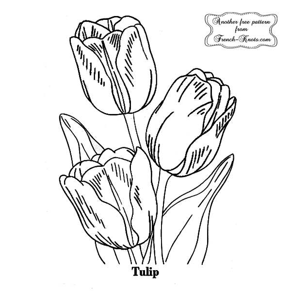 tulip flower embroidery pattern