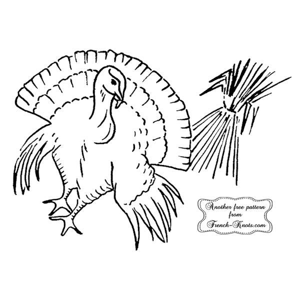 Thanksgiving turkey embroidery pattern