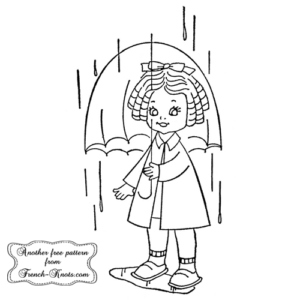 umbrella girl embroidery pattern