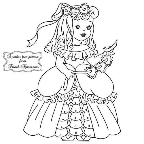 valentine girl embroidery pattern
