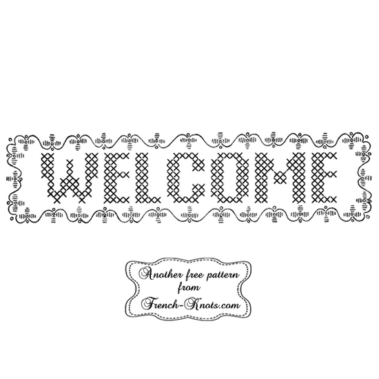 welcome embroidery pattern