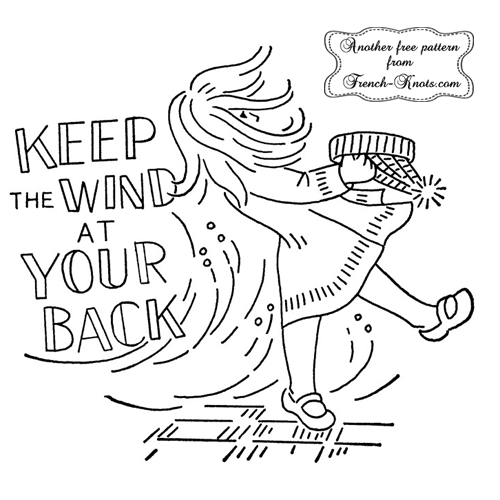 windy girl embroidery pattern