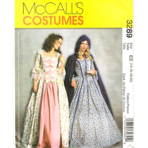 McCalls 3289 colonial costume dress pattern
