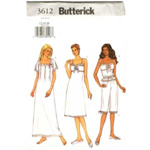 Butterick 3612 nightgown, slip and camisole pattern