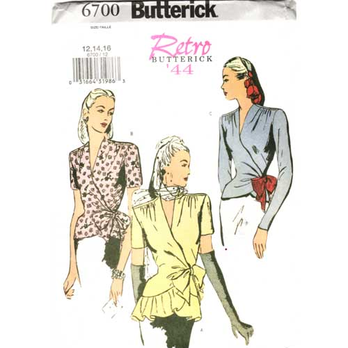 Butterick 6700 Retro wrap top sewing pattern