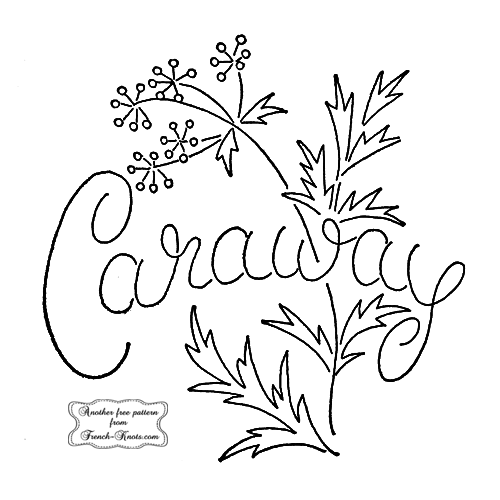 caraway herb embroidery pattern