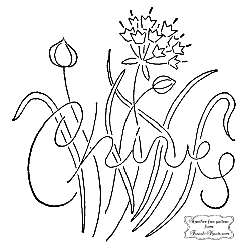chives herb embroidery pattern