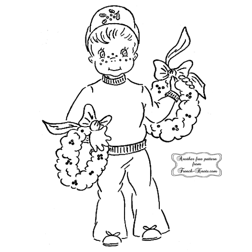 christmas boy embroidery pattern