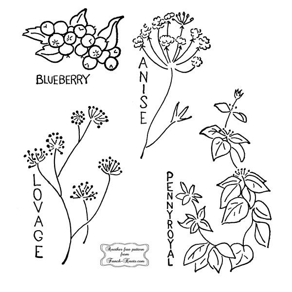 herbs - embroidery patterns