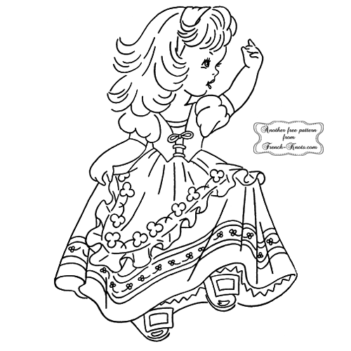 Irish girl embroidery pattern