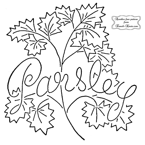 parsley herb embroidery pattern