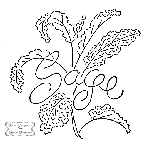 sage herb embroidery pattern