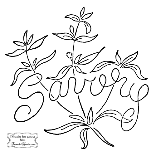 savory herb embroidery pattern