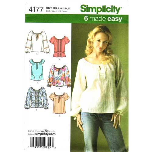 simplicity 4177 peasant top sewing pattern