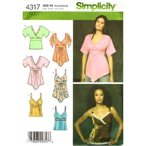 simplicity 4317 empire top sewing pattern