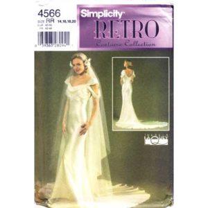simplicity 4566 retro wedding dress pattern