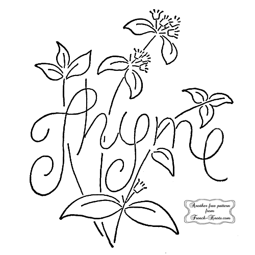 thyme herb embroidery pattern