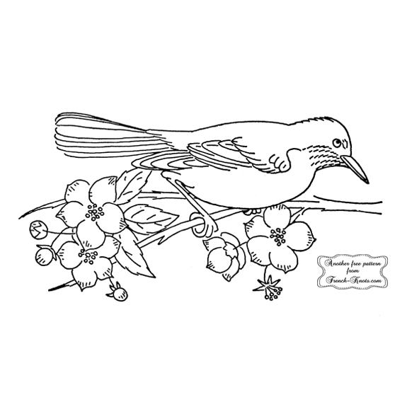 bird and flowers embroidery pattern