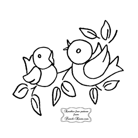 mama bird and baby embroidery pattern