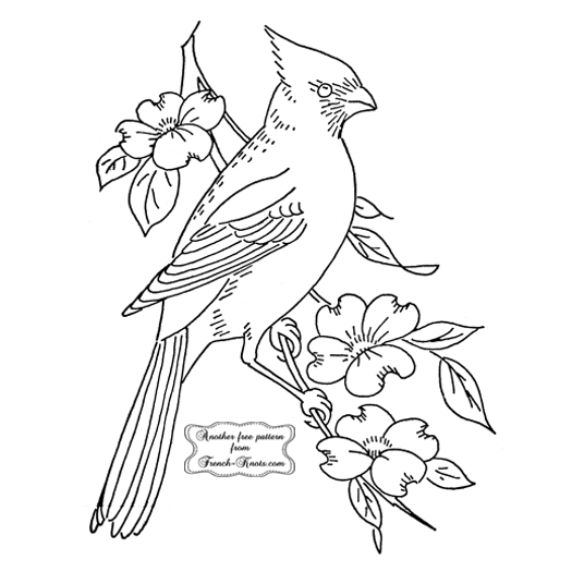 cardinal and flowers embroidery pattern
