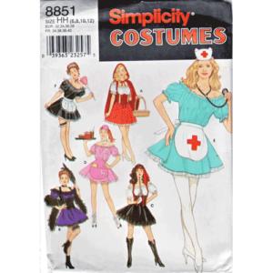 simplicity 8851 Maid Nurse Riding Hood Costume Pattern