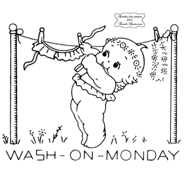 kewpie days of the week embroidery pattern