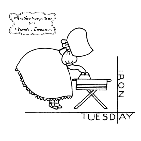 sunbonnet days of the week embroidery pattern