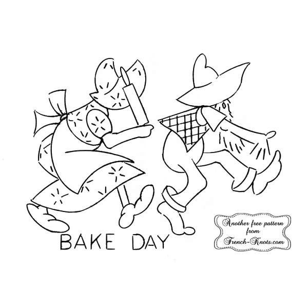 hillbilly bake day embroidery pattern