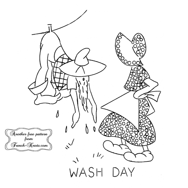 hillbilly wash day embroidery pattern