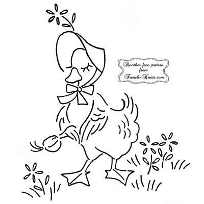 ducking wearing bonnet