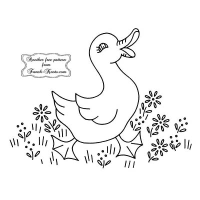 duck in a daisy patch