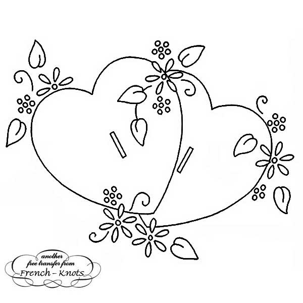 double heart with daisies