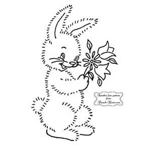 fuzzy bunny with flowers