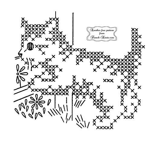 kitten with cross stitch