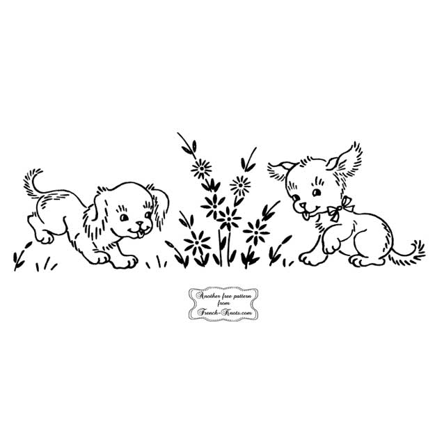 puppies with daisies